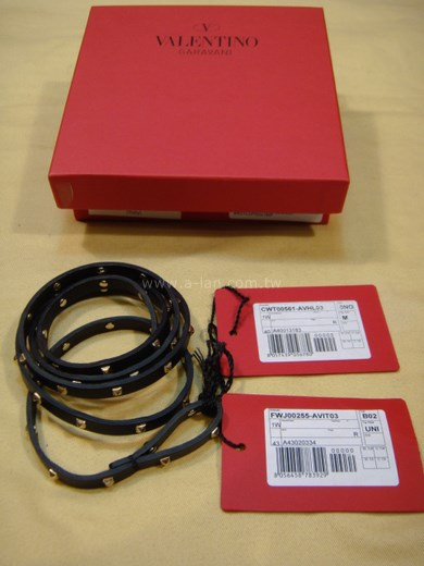 VALENTINO 鉚釘黑細造型皮帶-83287758