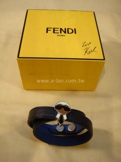 FENDI 黑藍雙色皮環-84072778