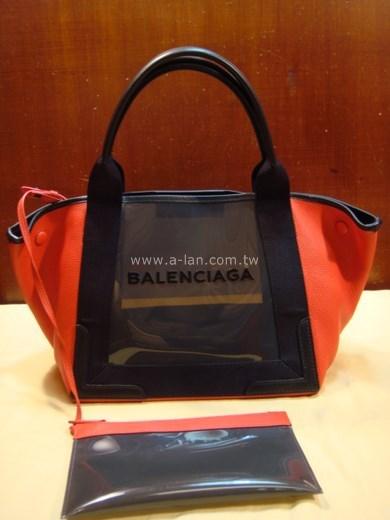BALENCIAGA NAVY  MM 紅皮透明包-842993428