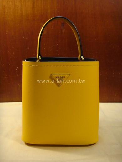 PRADA Prada Panier Medium bag 黃皮單提水桶包-842997918