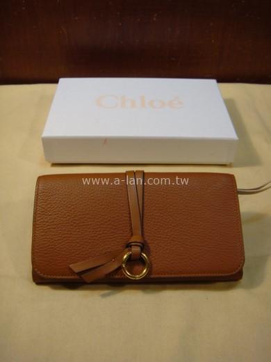 Chloe' 咖啡色全皮長夾-842998588