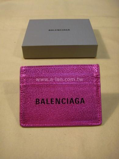 BALENCIAGA 螢光桃紅卡夾-842998098