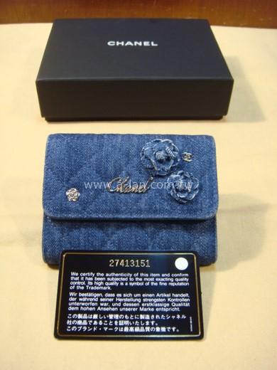 CHANEL 單寧布花朵零錢包-842998198
