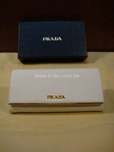 PRADA 金屬LOGO防刮牛皮釦式長夾-842999488