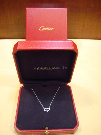 Cartier 卡地亞C字心形18K白金項鏈-84666108