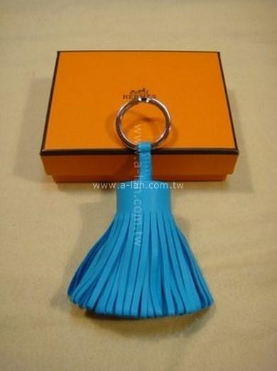HERMES 藍流蘇小羊皮鎖圈-85057048