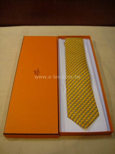 HERMES 黃色松鼠領帶-85215408