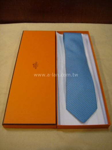HERMES 藍色白圈領帶-85215448