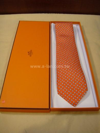 HERMES 橘白點點領帶-85215648