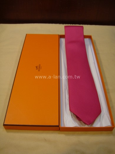 HERMES 桃紅素色領帶-85215668