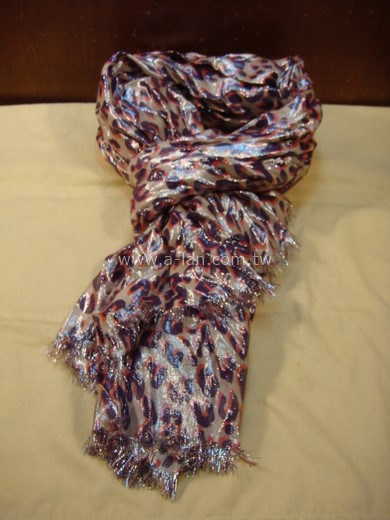 LV-紫豹金蔥皺折披巾-85365258