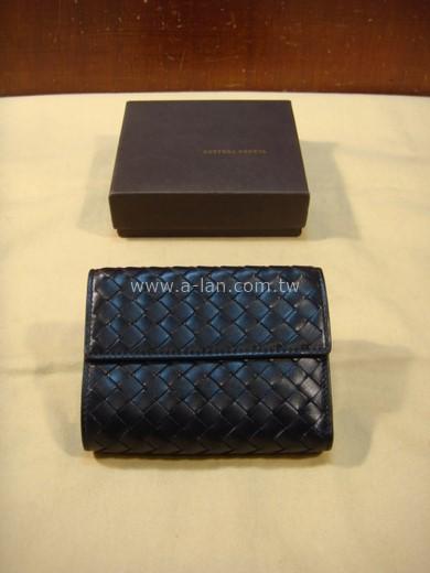 BOTTEGA VENETA 黑編皮釦夾-85475108