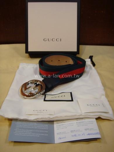 GUCCI 圓形雙G經典紅綠織帶皮帶-89830128