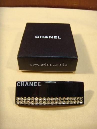 CHANEL 黑壓克力水晶髮夾-89845758