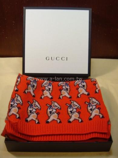 GUCCI 三隻小豬刺繡圍巾-89848428