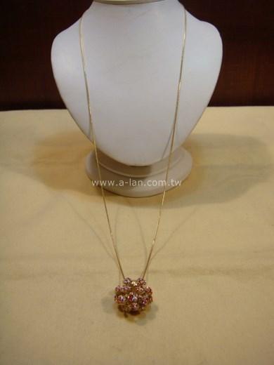 LV-粉水晶彩鑽項鍊-89858768